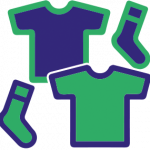 Green and purple socks and t-shirts