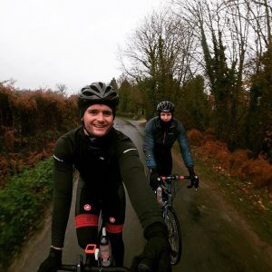 Dr Mike and Charlie on bikes