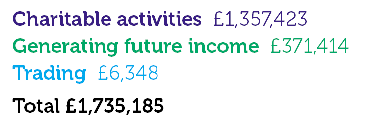 Charitable activities £1,357,423; Generating future income £371,414; Trading £6,348; Total £1,735,185