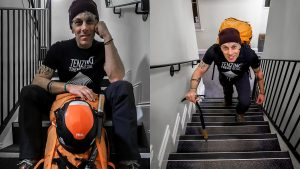 Two images of a man with a backpack climbing stairs