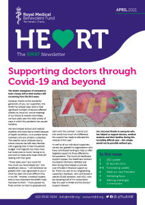 """Preview of the April 2021 RMBF Newsletter cover. The headline is """"Supporting doctors through Covid-19 and beyond"""" and the cover image is a pavement mural combining a heart, a rainbow and the NHS logo."""