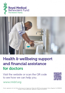 """A preview image of our poster. The image is of a doctor leaning over a sink in a hospital, looking exhausted. The text is """"Health & wellbeing support and financial assistance for doctors."""""""