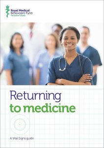 """Cover of publication """"Returning to medicine: a Vital Signs guide."""" The cover image is of a young female doctor wearing scrubs, arms folded and smiling, in front of a group of other doctors."""