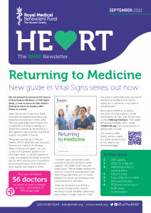 """Cover of the latest RMBF newsletter. The headline is """"Returning to Medicine: New guide in Vital Signs series""""."""